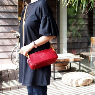 Original texture Japanese vegetable tanned handmade leather side bag Made in Japan by CHAM
