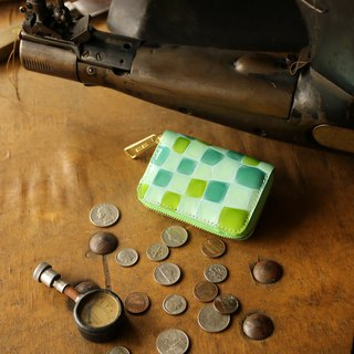 Japan Manufactured cowhide coin payment coloring glassy green made in JAPAN handmade leather wallet coincase