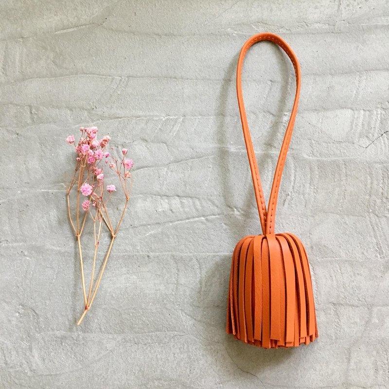 皮革流蘇 流蘇吊飾  橘色