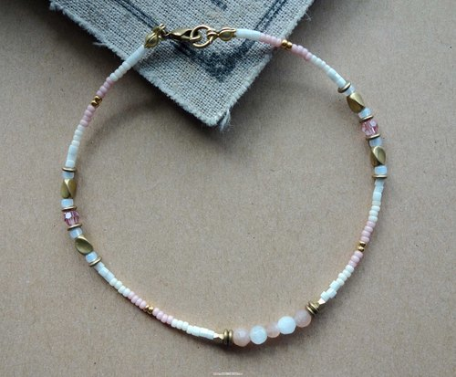 ~ Rice + bear ~ moonlight stone brass & natural stone & Japanese bead anklet / anklet