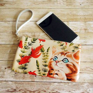 "ENEY painting cross stitch two leather handbag wallet ""look at the goldfish cat"""