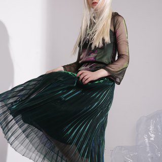 Green gradient skirt skirt half skirt pleated skirt spring