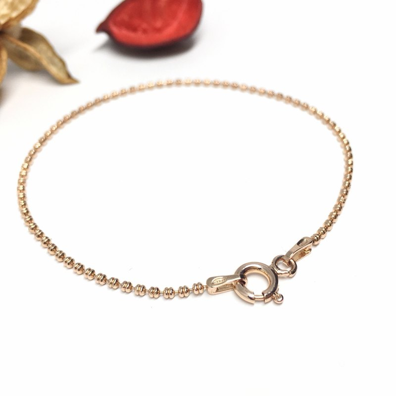 Warm color rose gold double bead bracelet