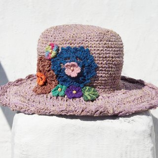 Valentine's Day gift ideas gift of a limited hand-woven cotton cap / knit cap / hat / visor / hat / straw hat - knit flower forest wind (Violet)