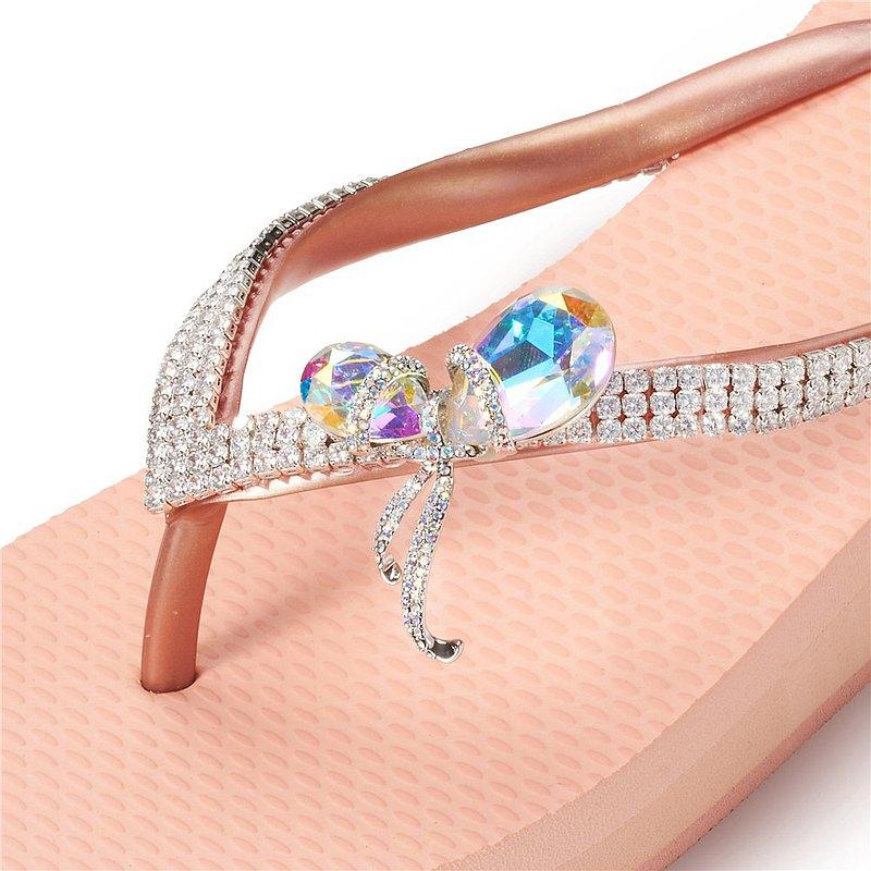 女款3cm厚底夾腳拖鞋-頂級首飾工藝水鑽-雙石結 粉金