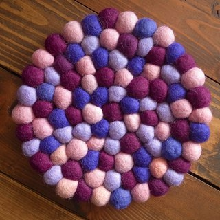 Potholder, Trivet, Pan Coaster, Pot holder, Felt ball Trivet Round_20cm_Purple