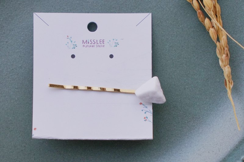 Ishiho-Equinox White Natural Marble Gold Hairpin Hair Accessories Handmade Jewelry