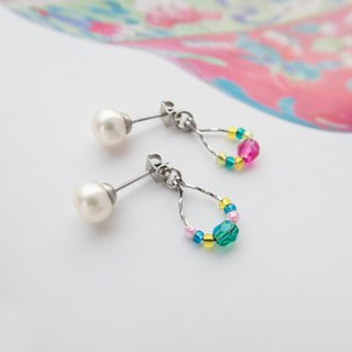 Beaded Series | Colorful Glass | Handmade Stainless Steel Pearl Earrings