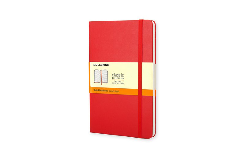MOLESKINE Classic Red Hard Shell Notebook-L-Horizontal Line-Hot Stamping Service
