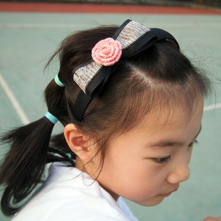 Custom hand-knitted cute girl pink rose headband BH061