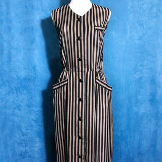 Ping pong vintage [Vintage dress / pocket stripe sleeveless vintage dress] bring back VINTAGE abroad