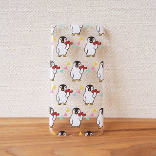 Clear android phone case - Penguin with Fish -