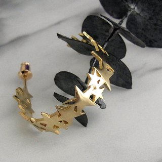 Stardust one ear hoop earrings / brass