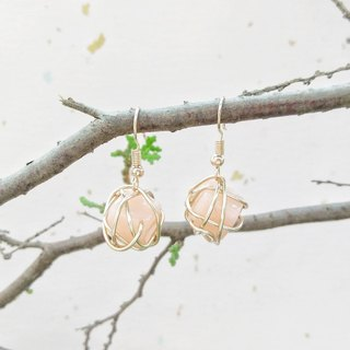 Pink candy ball rose gold accessories metal-wrapped earrings can change ear clip