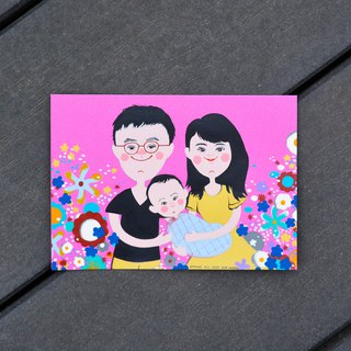 Cute style customized parent-child portrait - 3 person birthday / Valentine's Day / Mi Yue / Family portrait / baby