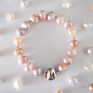 Nature color Freshwater Keshi Pearl, 925 Silver Clasp Bracelet
