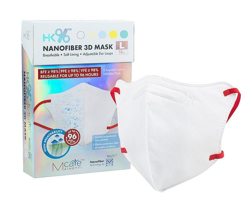MainettiCare HK96 納米纖維過濾 3D 立體口罩 大碼 10個裝