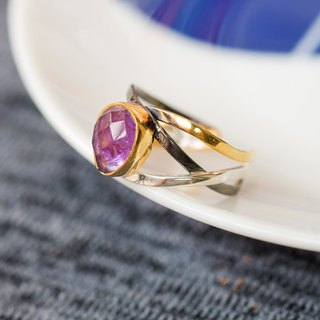 Natural stone three-color streamline opening ring - amethyst 925 sterling silver