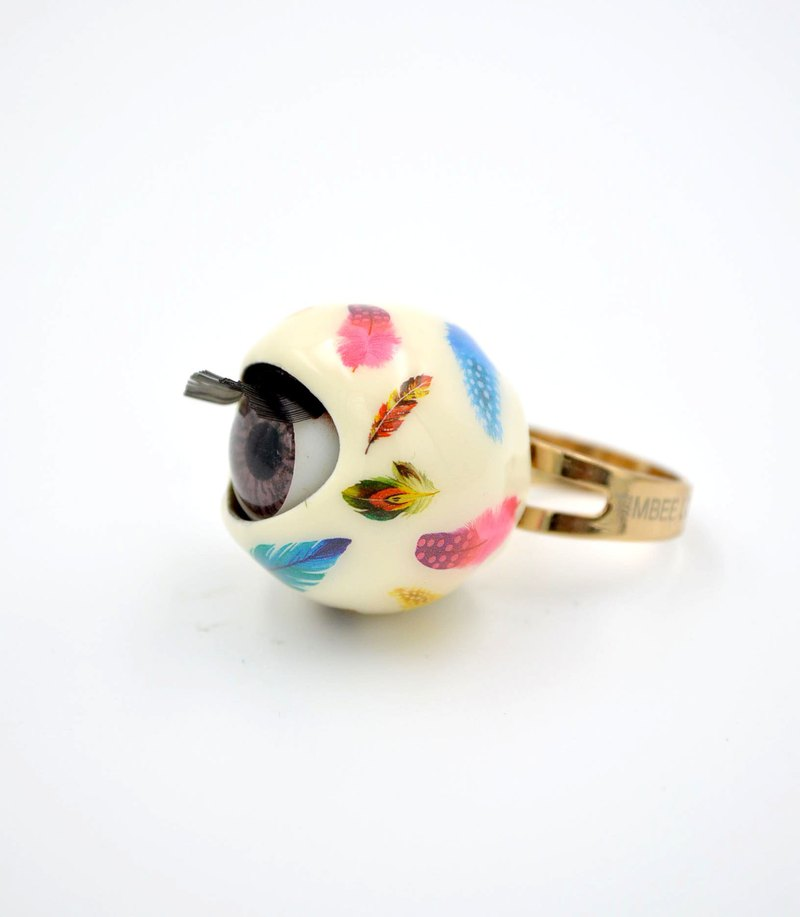 20mm fun digital pattern eyeball ring red black and white pink mint purple blue lemon yellow 8 colors