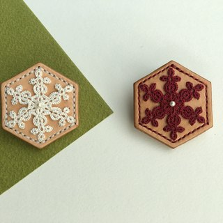 Snowflake: The most beautiful hexagon - tatted lace leather brooch/tatting/lace/leather/brooch