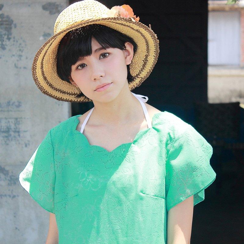 **湖水綠 綠色 /兩件式  美形領口花紋洋裝/內搭綁帶純棉白 洋裝