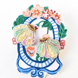 Pastel shell embroidery earrings