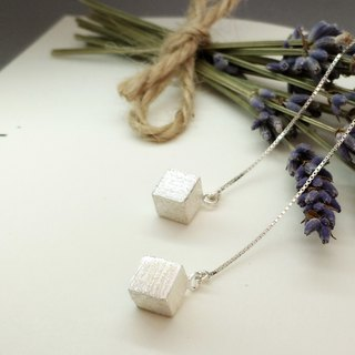 S Lee-925 silver hand made matte square earrings