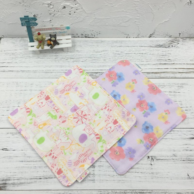 G14-soft soft gauze handkerchief (six-layer gauze) double-sided pattern hand-painted wind animal & watercolor flower