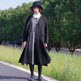 Black double-faced wool coat | coat | autumn and winter models | Australian wool | independent brand | Sora-203