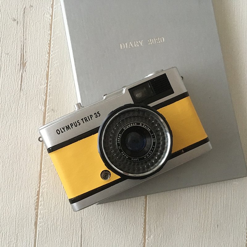 Olympus TRIP 35 Film Camera with  yellow genuine leather