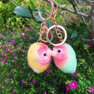 Bird tweeted - wool felt lovebird magnet keychain love bird magnet kiss wool felt keychain can be customized plus word