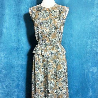 Ping-pong vintage [Vintage dress / exquisite double weaved flower sleeveless vintage dress] bring back VINTAGE