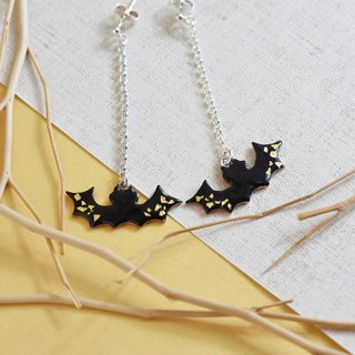 Black gold bat (Chuang cloisonne earrings 925 sterling silver Halloween gift) C% handmade jewelry