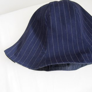 Blue and White Stripe - Handmade Bucket Hat | Double sided