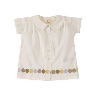 100% organic cotton classic round neck design large dot printed girls short-sleeved shirt