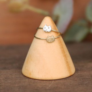 Made in Japan Handmade Jewelry - Cat Face Double Ring - Apricot White