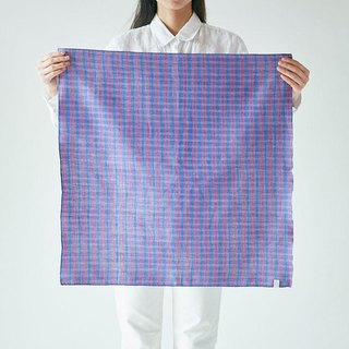 Linen cotton ahead dyed check square cloth blue × pink