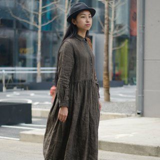 Hour light | coffee brown square collar linen dress dress classic round neck with copper buckle lantern sleeve
