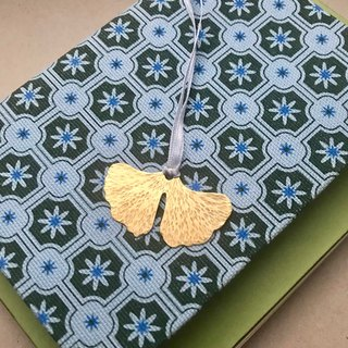 Ginkgo - brass bookmark (hand knocked flower)