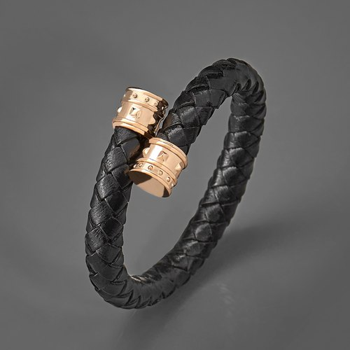 鉚釘編織皮繩C型手環 Rivet Leather C-Type Bracelet
