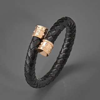 Rivet woven leather cord C-shaped bracelet