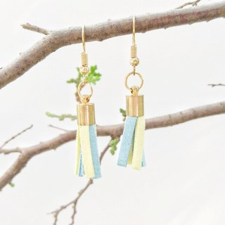 Blue and yellow two-color Korean cashmere for tassel earrings can change ear clip