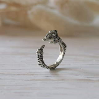 Dragon claw silver rings adjustable wrap Vintage Biker Skull jewelry gothic men