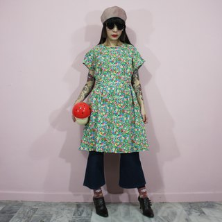 (Vintage dress) Green summer grassland with waist strap Japanese vintage dress (birthday gift) F3241