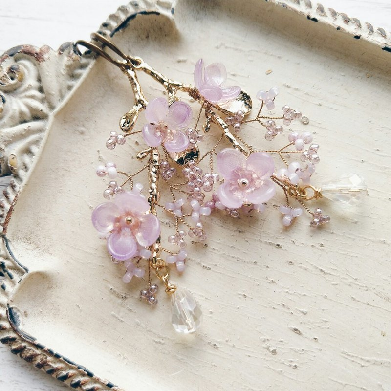Momolico peach lily earrings flowering flower lilac can be changed
