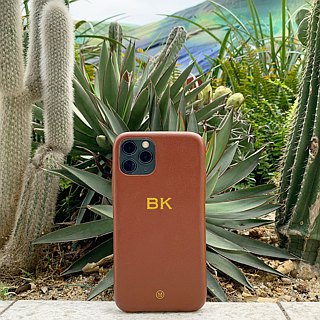 Customized Multicolor Leather Lambskin Series Macaron Dream Color 24 Color Brown iPhone Case