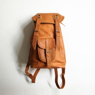 A ROOM MODEL - VINTAGE, BB-0744 after caramel color leather backpack