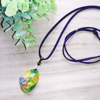 Hand painted the moon & the koi shell charm faux suede necklace