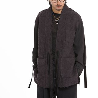 Jacquard linen stitching patch pocket woolen robe cardigan