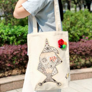 Cotton Canvas Hand Painted Tote-bag Fish with Tattoo